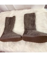 Muk Luks Sweater Boots Brown Ankle Calf Sz 6 Womens - $27.10