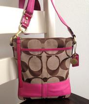 COACH Signature Stripe Swingpack Crossbody in Khaki Pink Jacquard - Styl... - $54.44