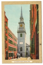 Old North Church Boston MA Gold Border Julius Bien Vintage Postcard - $6.69