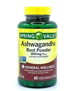 Spring Valley Ashwagandha Root Powder 800mg  60 Vegetarian Capsules Exp ... - $15.64