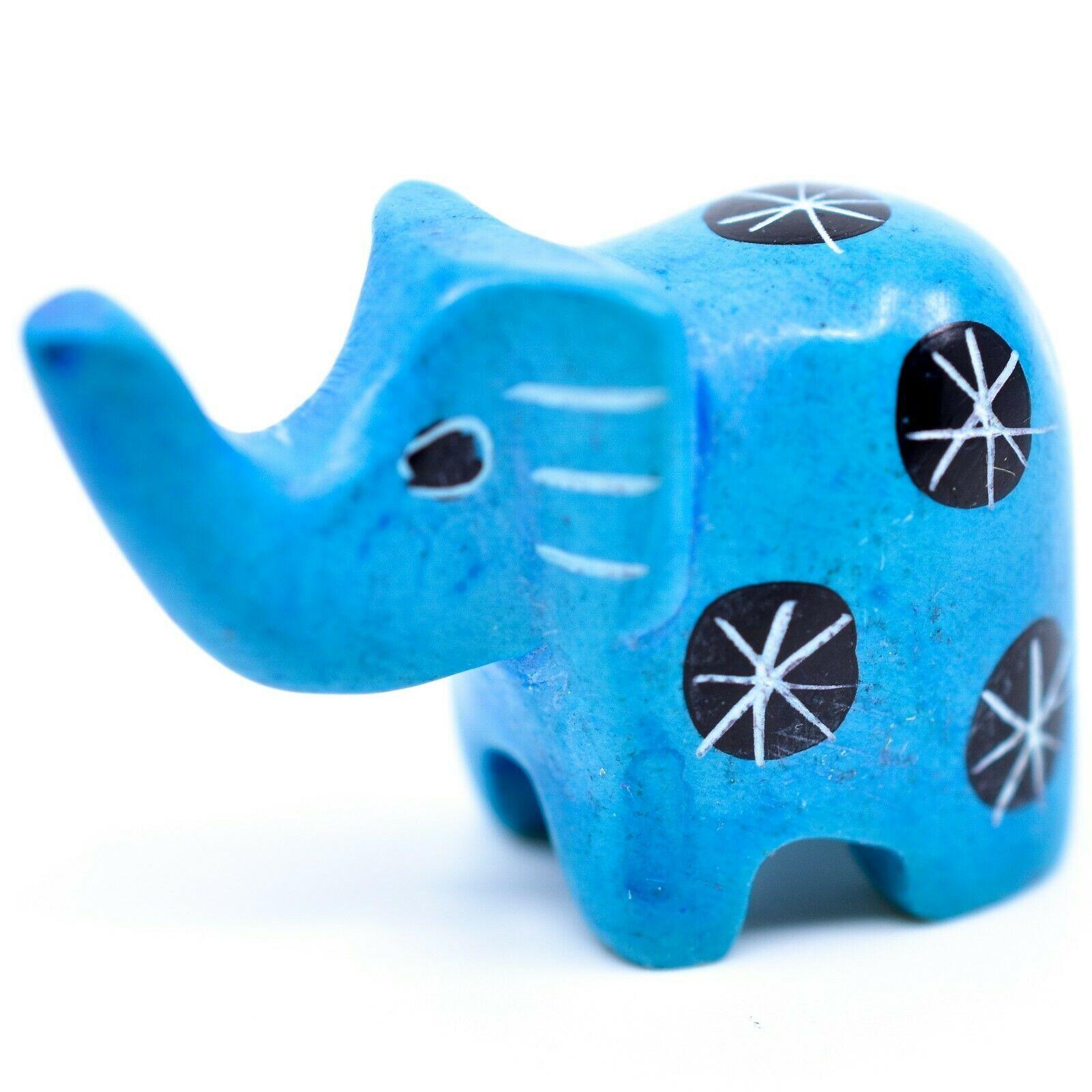 Tabaka Chigware Hand Carved Kisii Soapstone Mini Light Blue Elephant Figurine