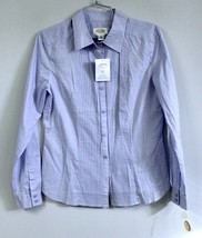 Talbots Womens S Lavender Blue Solid Cotton Blouse Pin Tuck Front NWT $4... - $17.06