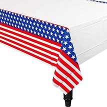 Red White Blue Stars USA American Flag Patriotic Party Decoration Tablecover - $11.66