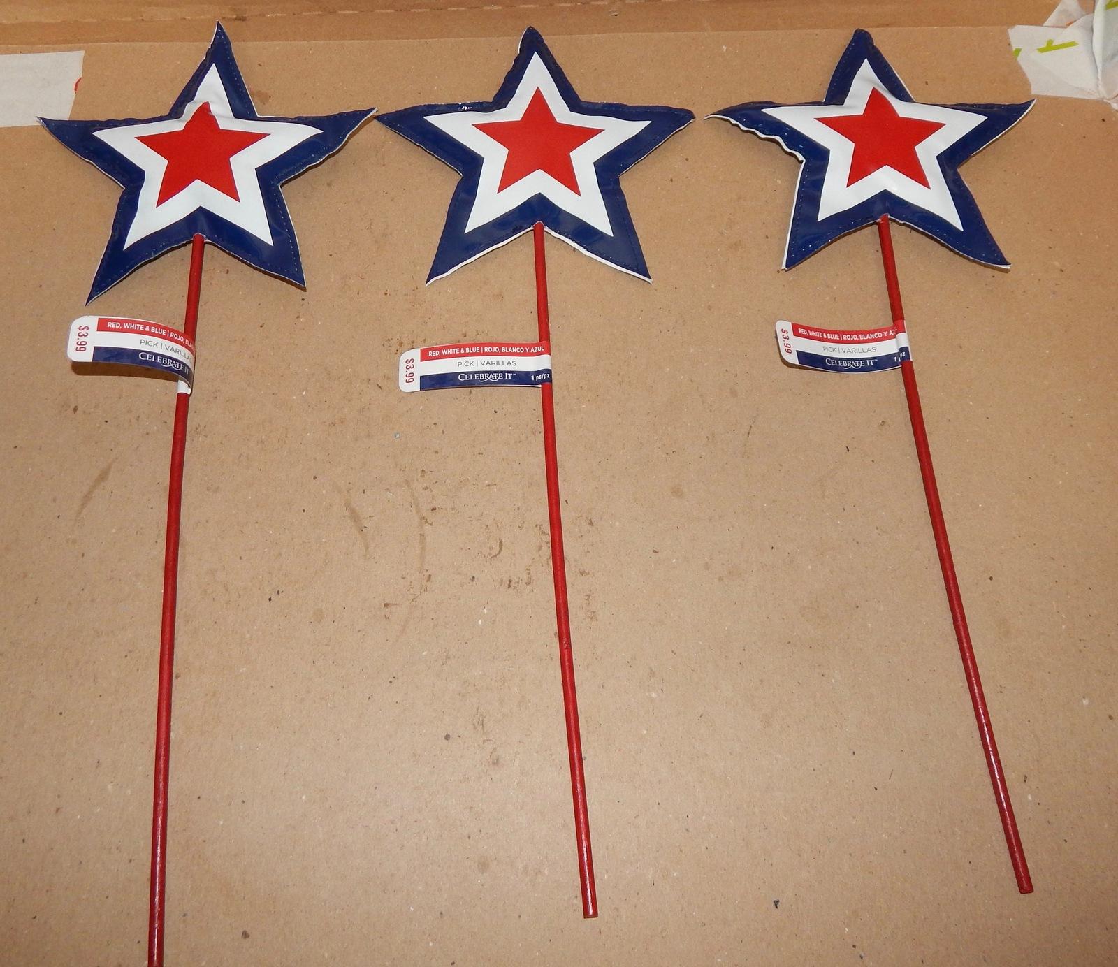 """Stars 4th Of July Red White & Blue Decor Stems Picks Soft 3ea 16""""x 6 1/2"""" 161I"""