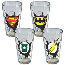 DC Comics Break Out Chest Logo Insignia 16 oz. Pint Glasses Set of 4, NE... - $24.16