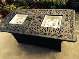 Outdoor Propane Fire Pit bar height double burner table Elisabeth aluminum patio image 8