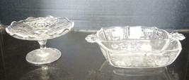 Elegant Glass Era Fostoria Cheese Stand & Divided Bowl  - Navarre Pattern - $26.59