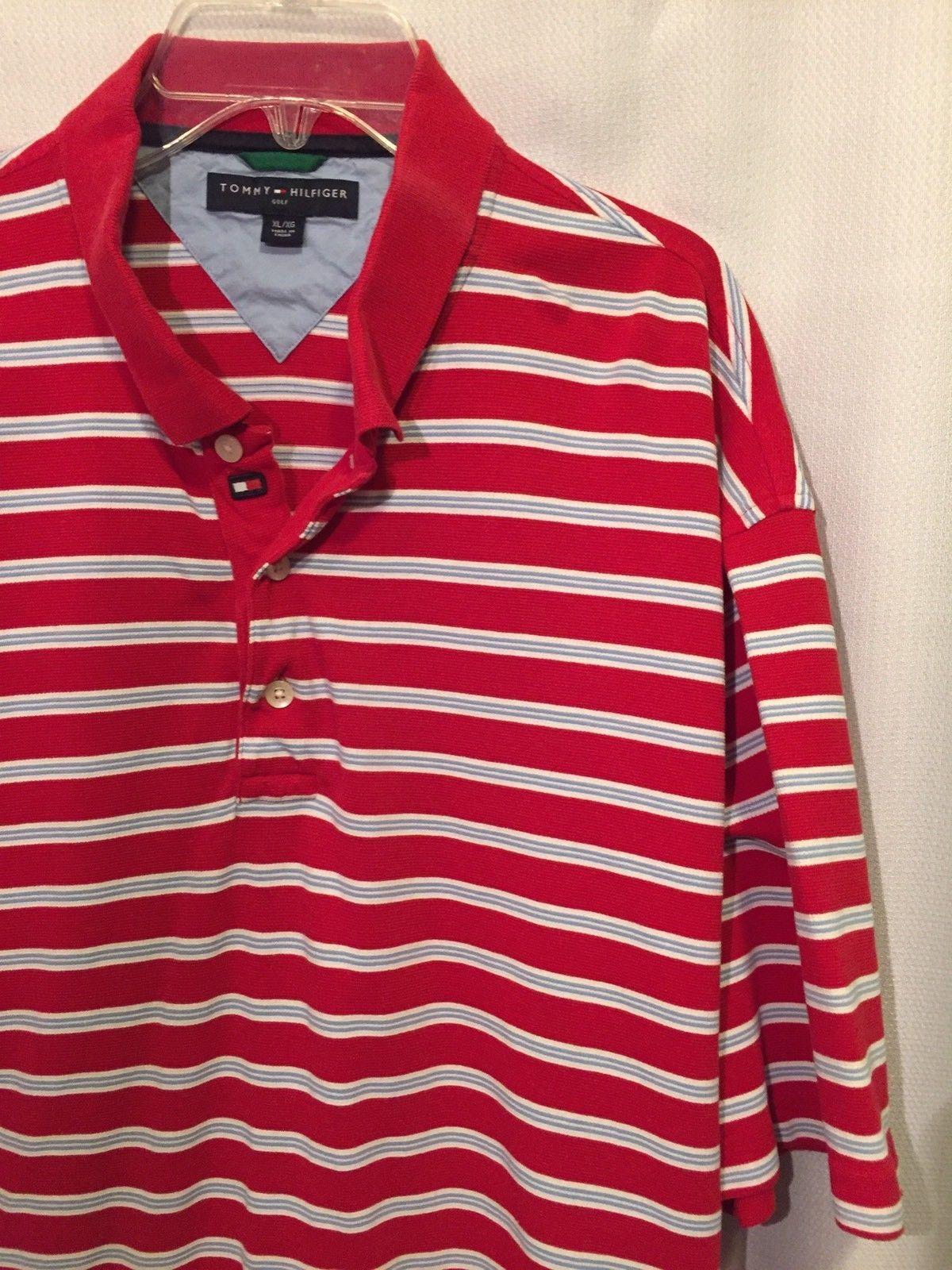 f040c40343e1 S l1600. S l1600. Previous. Tommy Hilfiger Golf Polo Shirt Size XL Red White  Blue striped Logo Collar Cotton