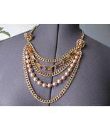 Gorgeous Talbots 5 Strands Gold Tone Bib Necklace NWT - $58.41