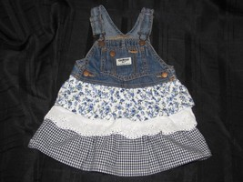 Oshkosh Vestbak Denim Overall Jumper Dress 24 Mths Tiered Ruffle Eyelet ... - $23.75