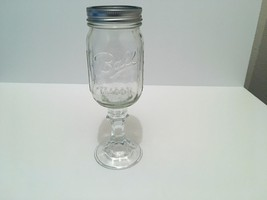 VTG BALL MASON JAR GOBLET ~ Decorative Mason Jar Wine Glass - $15.48