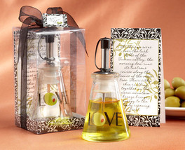 96 Italian Glass Love Olive Oil Bottle Bridal Wedding Favor in Tuscan Gi... - $227.95