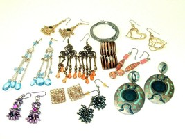 Mod Mix Earring lot pierced bohemian Boho post Danglers Vintage to moder... - $11.87