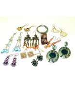 Mod Mix Earring lot pierced bohemian Boho post Danglers Vintage to moder... - $11.87