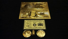 Free SHIPPING~GOLD$100 Banknote Rep.* + COIN/SILVER Bar&Flake~Collectible Lot Th - $11.39