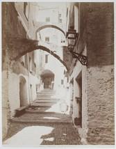 LG.VINT.1880s albumen ITALY San Remo, old town lane, atmospheric image! - $27.66