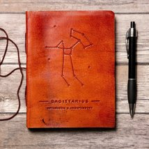 Sagittarius Zodiac Handmade Leather Journal - $38.00