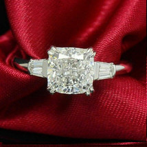 Certified 3.00Ct White Cushion Diamond Engagement Ring in Solid 14K Whit... - $260.06