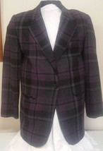 Vtg Woman's Blazer Jacket Sag Harbor Purple Plaid Suit Single Breasted  ... - $29.02
