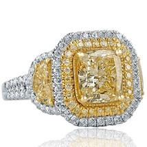3.79 TCW Yellow Cushion Cut Half Moon Side Diamond Engagement Ring 18k White Gol - $8,275.41
