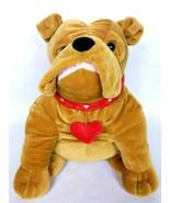 "Kellytoy Brown Bulldog Plush With Red Heart Stuffed Animal 2015 15"" - $36.00"