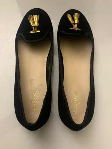 New Cole Haan Women's Black Felt Slip-On Loafers 9.5 B Gold Tassels Shoes image 4