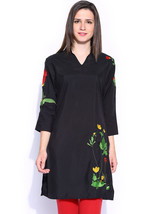Ira Soleil womens ethnic black polyester with embroidery sleeve kurta kurti - $49.99