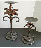 2 Cast Iron French Fleur De Lis Pillar Candle Stands 3.75 Top 8x3.75 & 1... - $8.91