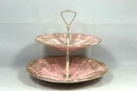 Vintage Very Rare 1960's USA #831 & #832 Two Tier Pink/Gold Ceramic Serv... - $249.99
