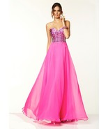 Sexy Strapless Hot Pink Beaded Chiffon Evening Gown Dress 6-16 Paparazzi... - $240.00