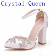Crystal Queen White 11CM Rhinestone Sandals Pointed Shoes Women Sweet Lu... - $165.00