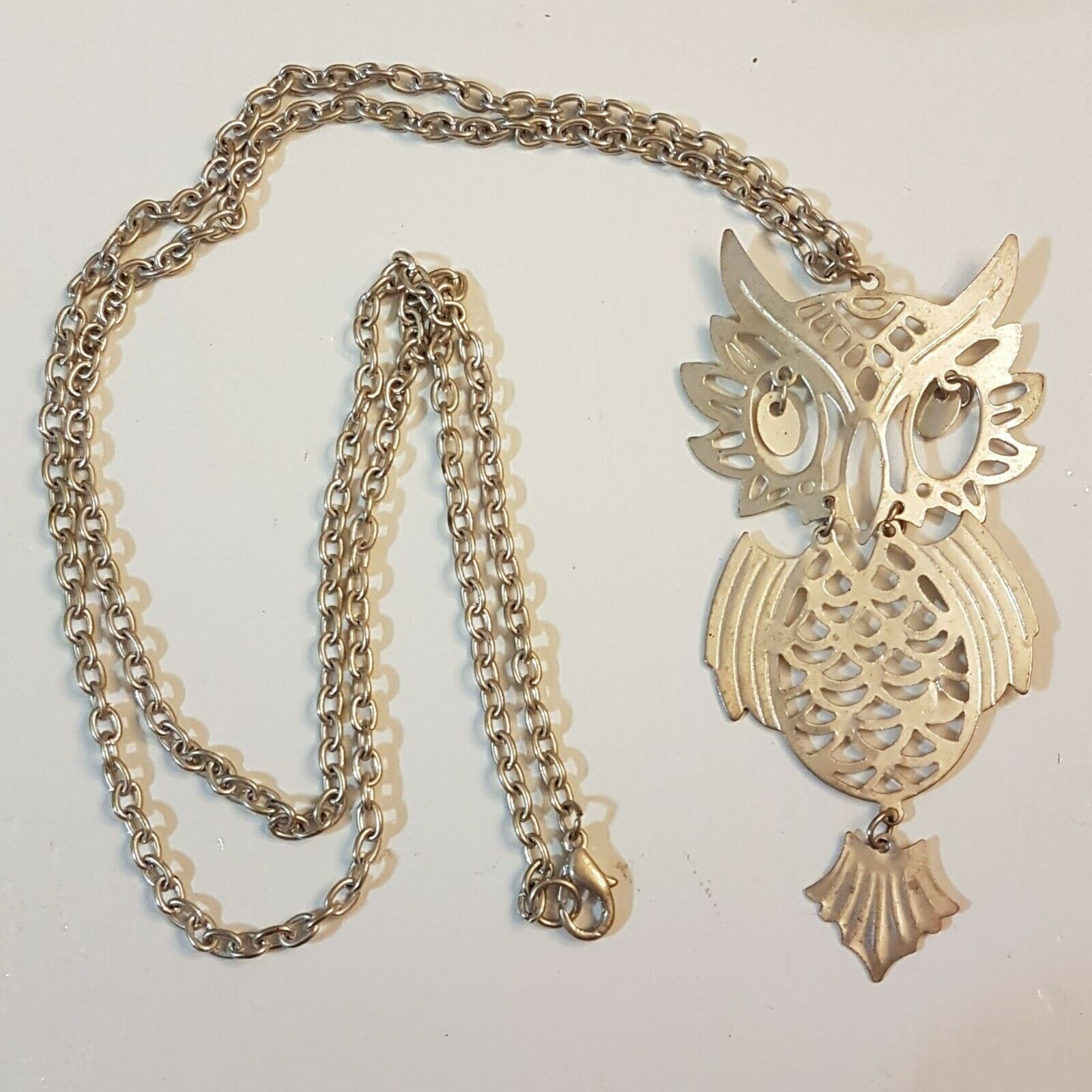 "Primary image for Horned Owl Pendant NECKLACE Articulated Jointed Movable Eyes 28"" Opera Length"