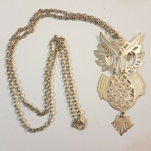 "Horned Owl Pendant NECKLACE Articulated Jointed Movable Eyes 28"" Opera L... - $9.89"