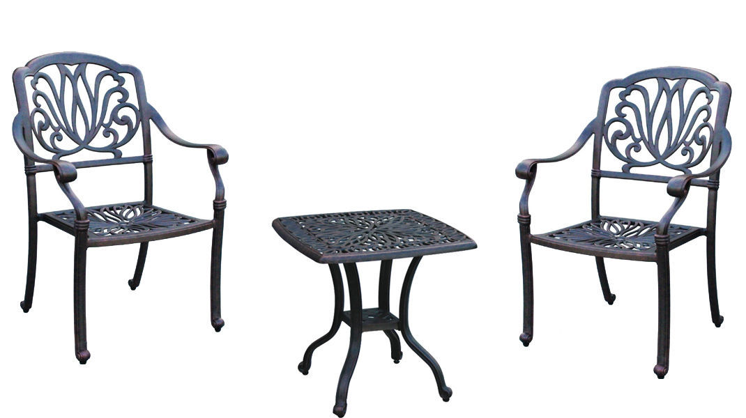 Bistro 3 Piece patio set Outdoor Elisabeth furniture Garden Cast aluminum Bronze