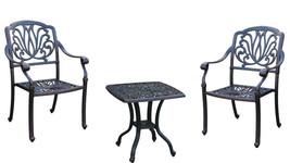 Bistro 3 Piece patio set Outdoor Elisabeth furniture Garden Cast aluminum Bronze image 1