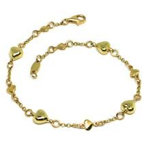 Bracelet or Jaune 18K 750, Cœurs Pluderhose et Assiettes,Alterné,Long 19 CM - $654.11