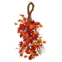 "Nearly Natural 26"" Mixed Japanese Maple Magnolia Leaf & Berries Teardrop Decor - $38.17"