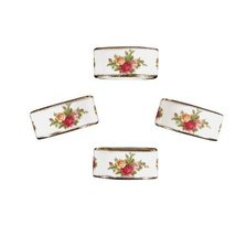 "ROYAL ALBERT ""OLD COUNTRY ROSES"" NAPKING RING SET/4 BONE CHINA 22K GOLD MULTINEW - $249.70"