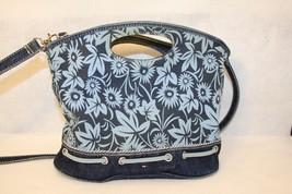 Tommy Hilfiger Blue Floral Denim Cross Body Bucket Style Tote Handbag - $74.95
