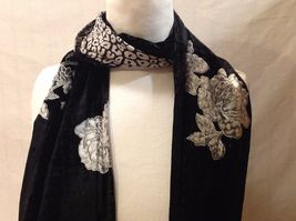 Gorgeous Combo Scarf Velvet and Satin floral vintage rose abstract color choice image 3