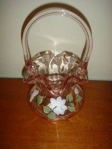 Fenton Basket Hand Painted White Floral On Peach~Pink Basket - $44.99