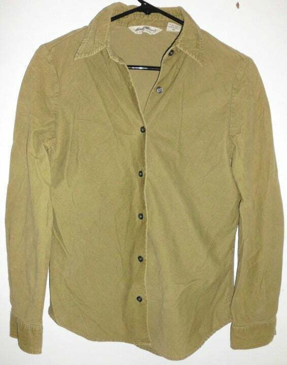 Primary image for EDDIE BAUER Button Front Shirt XS Women Green Light Corduroy Long Sleeve