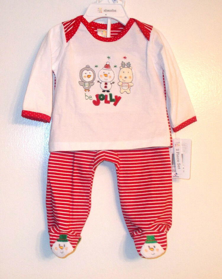 Absorba Infant Girls 2 Piece Christmas Holiday Outfit Be Jolly Sz 3-6 Month NWT - $9.45