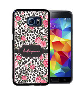PERSONALIZED CASE FOR SAMSUNG S9 S8 S7 S7 S6 PLUS RUBBER LEOPARD ROSE   - $13.98