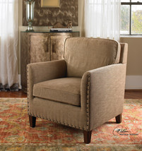 NEW NAIL HEAD ACCENT LOUNGE CHAIR CHENILLE TAN BEIGE PECAN BLOCK LEGS - $701.80
