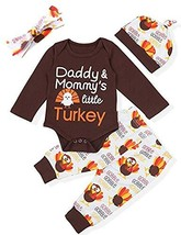 Thanksgiving Day Outfit Set Baby Boys Girls Little Turkey Romper(Brown, ... - $13.50