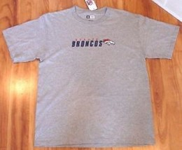 NEW DENVER BRONCOS NFL T SHIRT L SEWN STITCHED NWT GREY NFL GRAY FREE SH... - $16.82