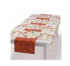 Fall Thanksgiving Autumn Maple Leaves Reversible Table Runner Set (5) - $34.59