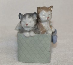 Lladro Nao Spain 2 Cats In Box With Bow 1080 For Cat Lovers Issued 1992 ... - £36.13 GBP