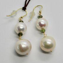 Boucles D'Oreilles en or Jaune 18k 750 Perles Eau Douce Tourmalines Vert image 5